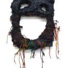 Jacin Giordano, Mask for hunting rainbows (big smile), 2013, yarn and acrylic on canvas, 23 x 12 in. (58 1/2 X 30 1/2 cm.), Sultana, Paris