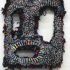 Jacin Giordano, Mask for hunting rainbows (dot face), 2013, yarn and acrylic on canvas, 16 7/8 x 11 3/8 in. (43 x 29 cm), Sultana, Paris