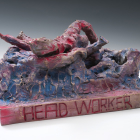 Sterling Ruby, Head Worker Reconfigured RWB 3, 2009, bronze and spray paint, 9 1/4 x 20 x 17 1/2 in. (23.5 x 50.8 x 44.5 cm.,) pedestal: 32 x 24 x 25 1/2 in. (81.3 x 61 x 64.8 cm.,) edition of 3 with 1 AP, SR_FP2379