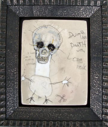 Dumb ass Death with  long neck, by Richard Campiglio, mixed media 5x6 in framed 2010(sold)