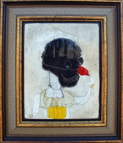 Yellow Bellied Cock Nose. mixed media 12x14 framed 2009 (sold)