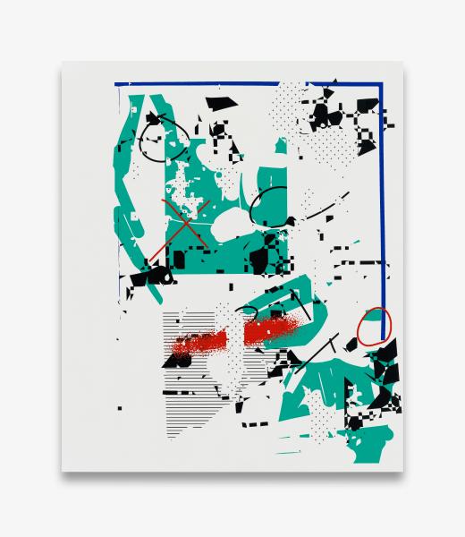 Michael Bell-Smith,Tick Tack, 2017, machine cut vinyl on Dibond, 54 x 45 in. (137.16 x 114.3 cm.)