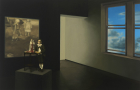 Installation view from right: Alejandro Celestino, Artist unknown, 2013, human being and mixed media, dimensions variable, Soliloquy, Ana Libitina, 2012, video projection, 107 minutes