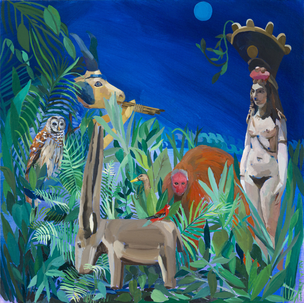 Adela Leibowitz, Isis and the Goat-Fish of Ea (Enki) , 2012 , oil on canvas on panel, 20 x 20 inches.