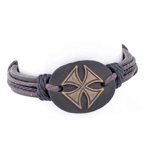 Brown and Black Faux Leather Bracelet
