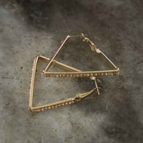 Triangle Hoop Crystal Earrings