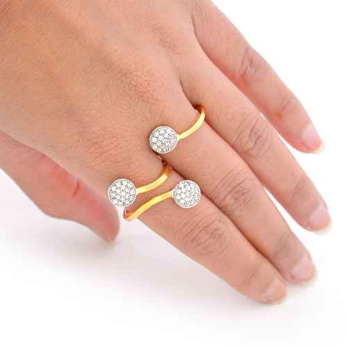 Gold plated American Diamond two tiered Ring