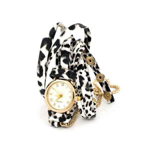 Black and White Leopard Wrap Watch