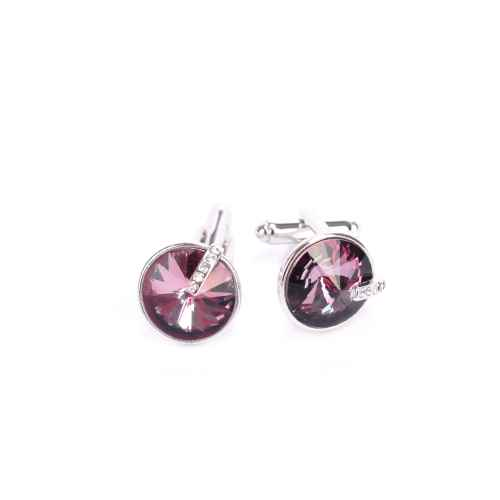 Deep Violet Circular Crystal Cufflinks made with elements from Swarovski