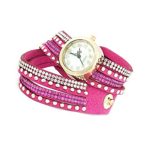Pink Three Strip Wrap Watch