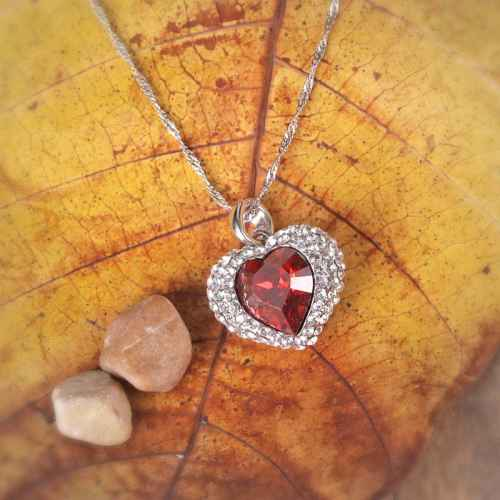 Silver Red Heart Pendant Necklace Made with Elements of Swarovski