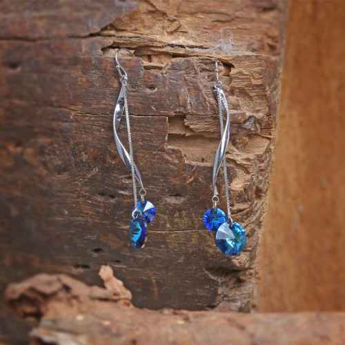 Sleek Silver Earrings with Blue Crystals made with elements from Swarovski