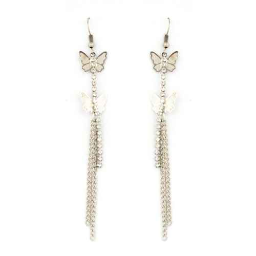 Butterfly fly silver earrings