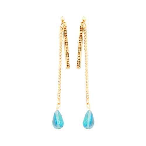 Gold Earrings with blue stone drop