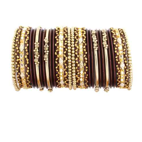 Maroon and Golden Glass Bangles for Kids
