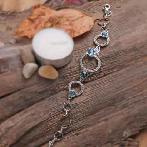 Blue & White Hoop Swarovski crystal Bracelet