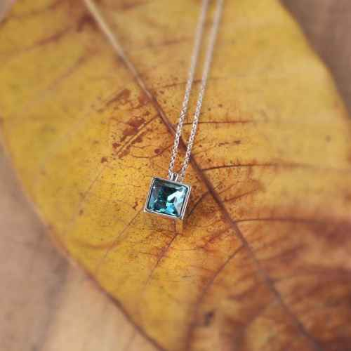 Blue Diamond in a Box Swarovski Crystal Necklace