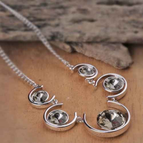 Grey Balance Necklace Made with Elements from Swarovski