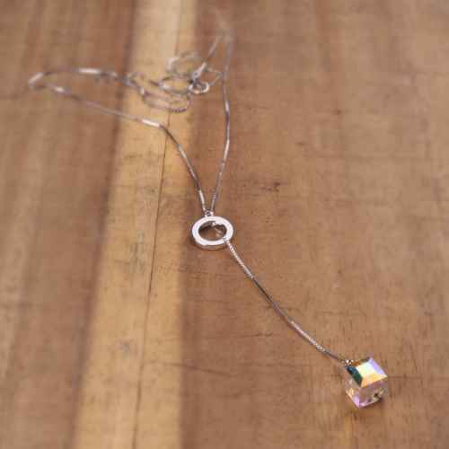 Box & Hoop Pendant Made with Elements from Swarovski