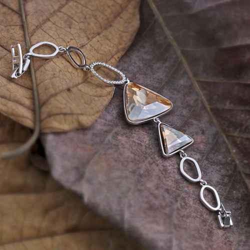 Triangle bracelet made with elements from Swarovski.