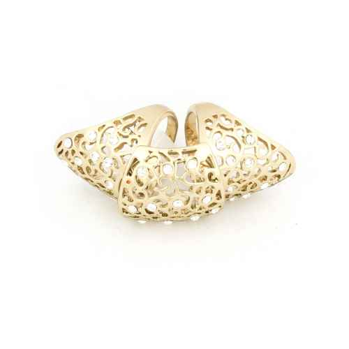 Abstract ethereal gold finger ring