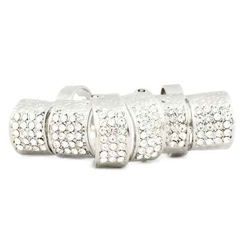 Silver Faux Diamond Studded Finger Ring