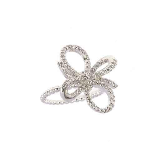Silver diamond studded ring
