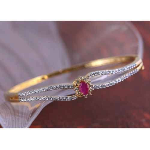 Gold Plated Classy Pink American Diamond Bracelet