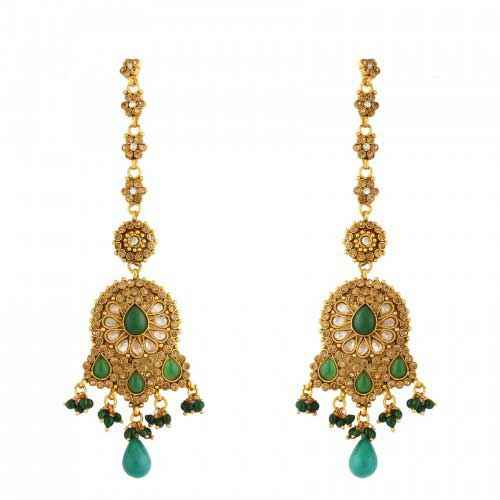 Gold Plated Green Antique Earrings
