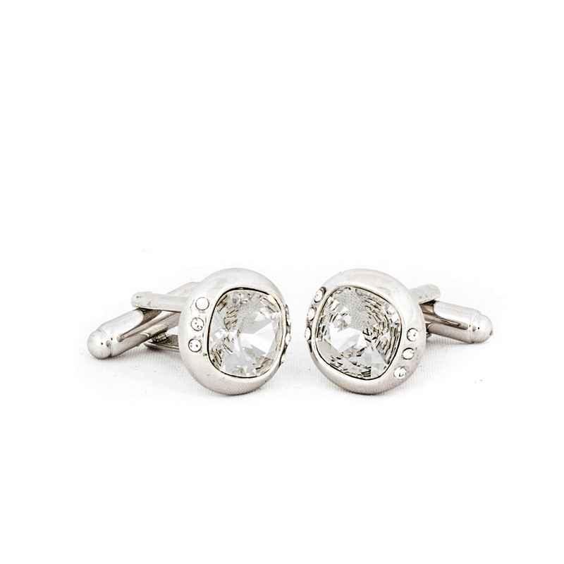 49cb0dc04ca1 Silver Clear Crystal Cufflinks made with elements from Swarovski - Cufflinks  - Men