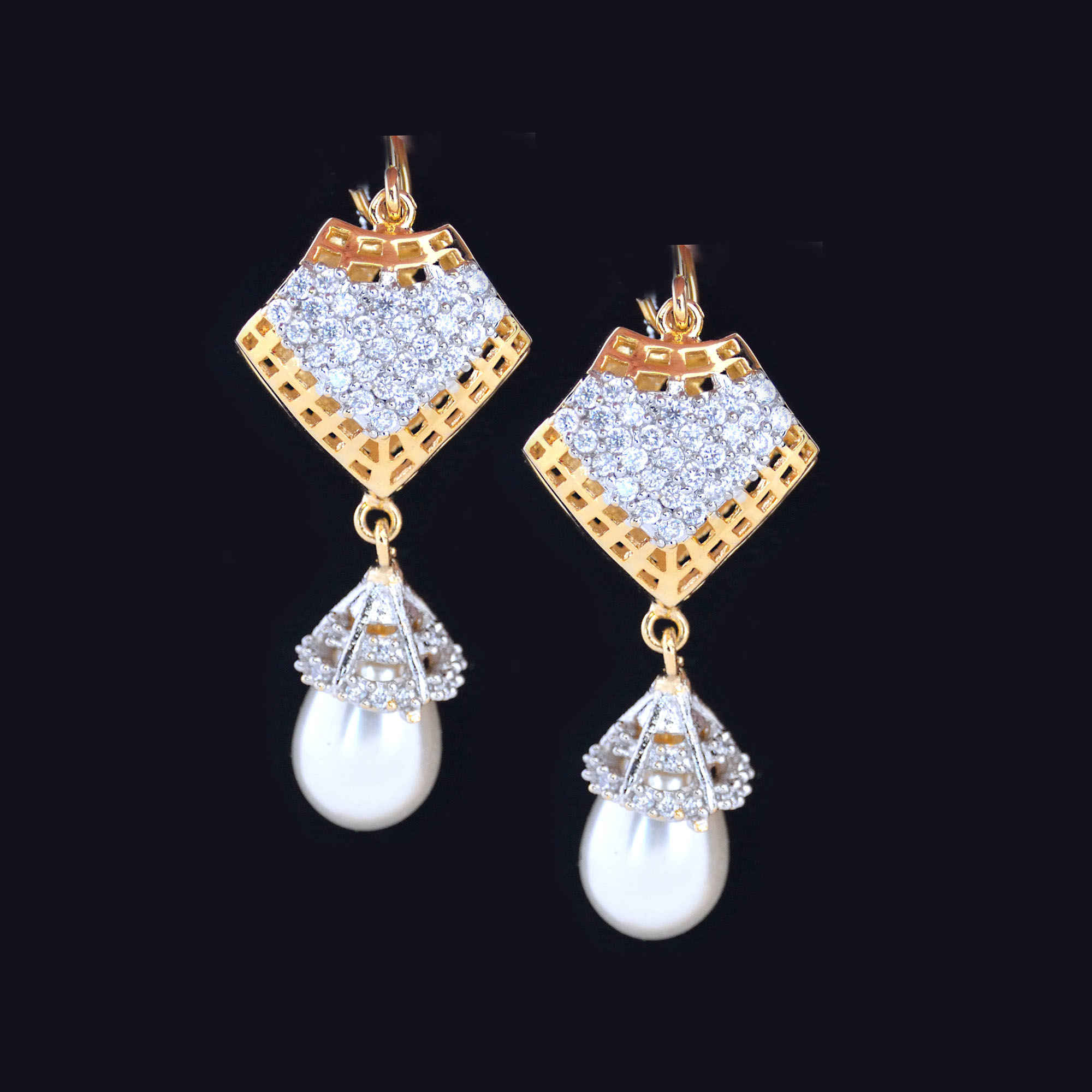 women american with diamond kundan ade cuffs fancy earrings jewelry zirconia jhumkies jumkies jewellery ad hanging for ear