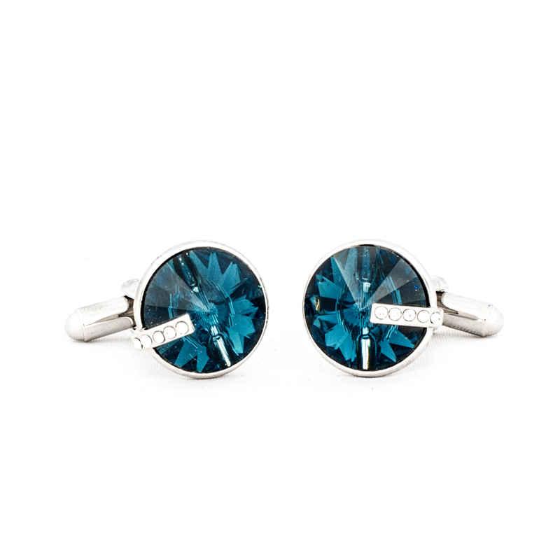 Navy Blue Round Swarovski Crystal Cufflinks