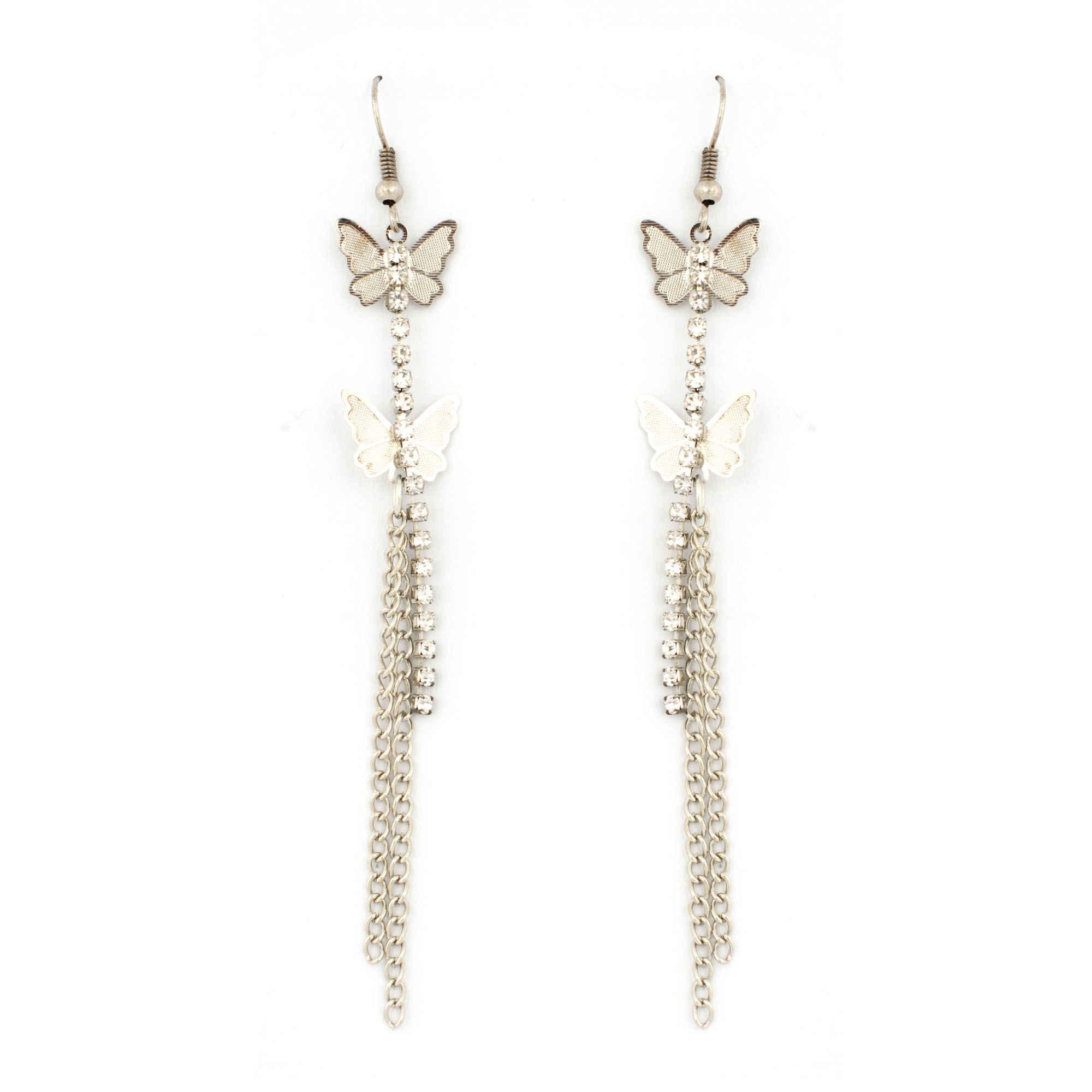Butterfly fly silver earrings
