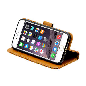 For iPhone 6/6S wallet case real leather case brown