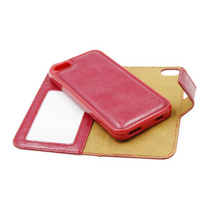 For iPhone 5/5S/5SE PU Leather Magnetic detachable Case Red