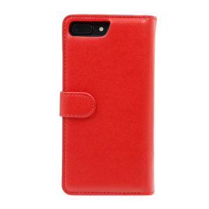 For iPhone 7 Plus Plain PU Leather Magnetic detachable Zipper Wallet Case Red