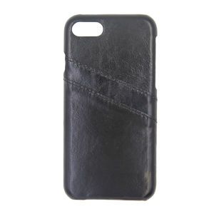 For iPhone 7 Genuine Leather Card Pocket Case Black