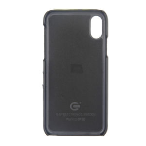 For iPhone X Genuine Leather Card Pocket Case Black
