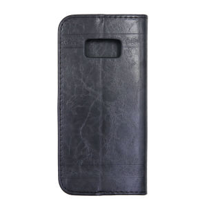 For Samsung S8 SM-G950F Flower Pattern Clamshell Leather Black With Silicone Inner Shell