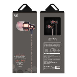 FS-004 In Ear  3.5mm Noise Cancelling Stereo Earbuds With Microphone Brown