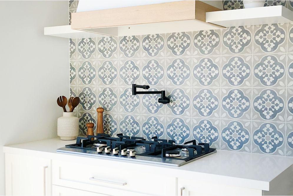 Enchante Tile And Sequel Quartz Slab In Kitchen