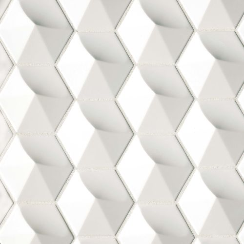 "Hedron 4"" x 5"" Wall Tile in Bright White Pearl"