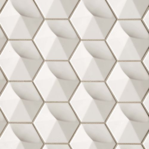 "Hedron 4"" x 5"" Wall Tile in Fog"