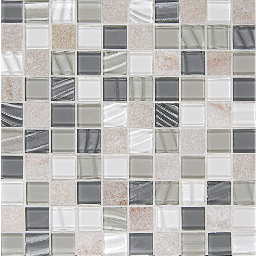 "Elume 1-1/4"" x 1-1/4"" Wall Mosaic in Heather Grey"