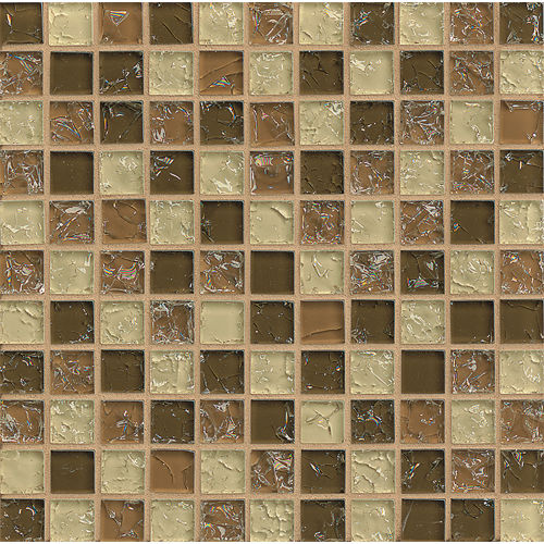 "Ice Crackle Glass Mosaic 1"" x 1"" Wall Mosaic in Brown"