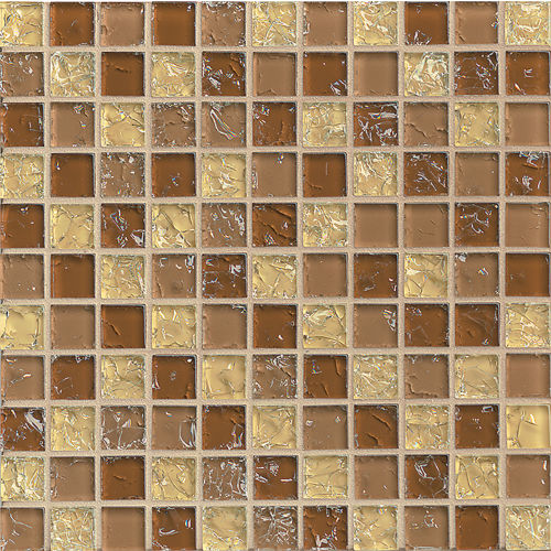 "Ice Crackle Glass Mosaic 1"" x 1"" Wall Mosaic in Tan"