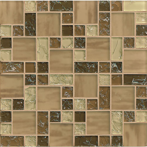 Ice Crackle Glass Mosaic Wall Mosaic in Brown
