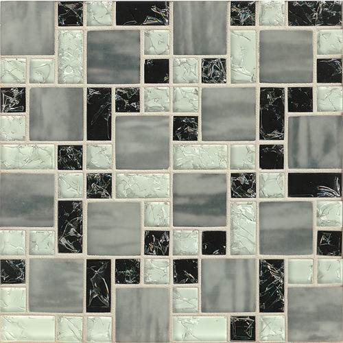 Ice Crackle Glass Mosaic Wall Mosaic in Black