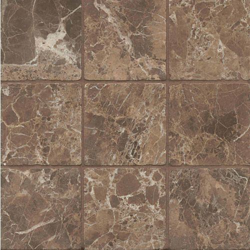 "Emperador Dark 4"" x 4"" Floor & Wall Tile"