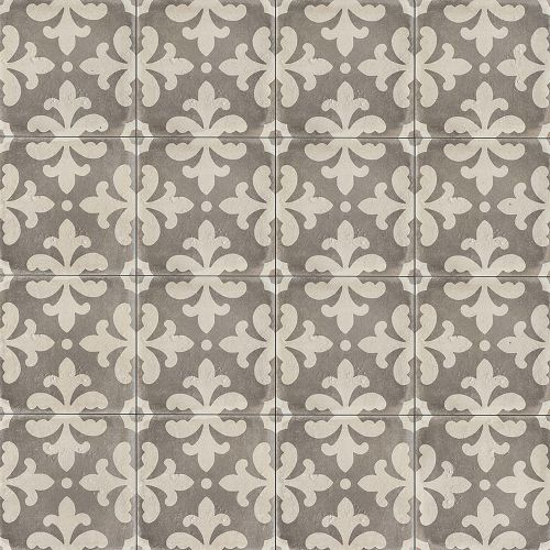 "Palazzo 12"" x 12"" Decorative Tile in Vintage Grey Florentina"